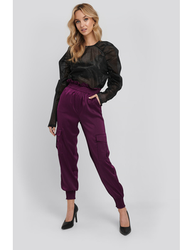 Shirred Hem Cargo Pants Purple by Na Kd Trend
