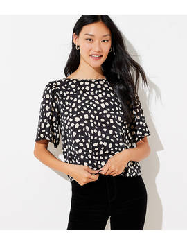 Spotted Flutter Bow Back Top by Loft