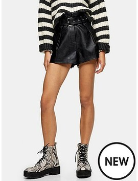 Pu Belted Shorts   Black by Topshop