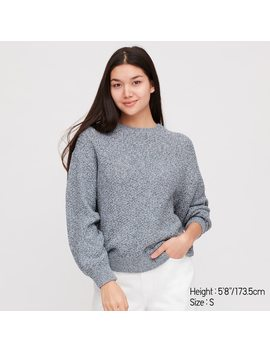 Women Colour Mixed Crew Neck Jumper by Uniqlo