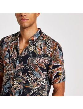 Black Feather Printed Slim Fit Shirt by River Island