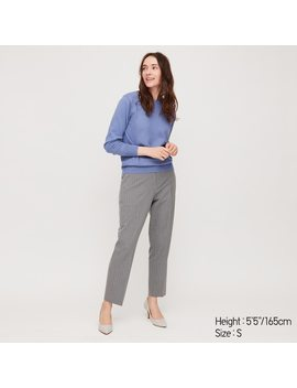 Women Ezy Stretch Striped Ankle Length Trousers by Uniqlo