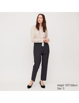 Women Ezy Stretch Checked Ankle Length Trousers by Uniqlo