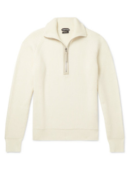Leather Trimmed Ribbed Merino Wool And Cashmere Blend Half Zip Sweater by Tom Ford