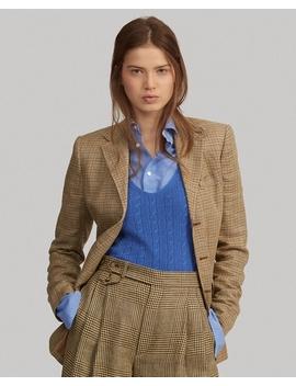 Houndstooth Linen Silk Blazer by Ralph Lauren