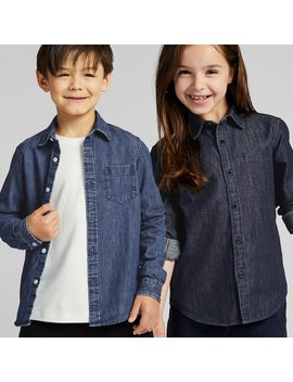Kids Denim Long Sleeve Shirt by Uniqlo