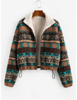 Zaful Tribal Print Plaid Faux Fur Lined Jacket   Multi S by Zaful