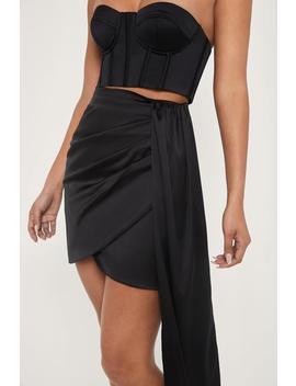 Cecily Satin Mini Skirt   Black by Meshki