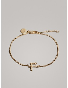 Gold Plated Letter F Bracelet by Massimo Dutti