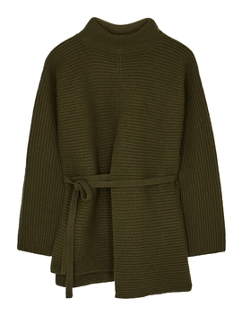 Dark Green Ribbed Wool Blend Jumper by Vince