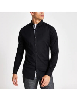Black Long Sleeve Muscle Fit Oxford Shirt by River Island