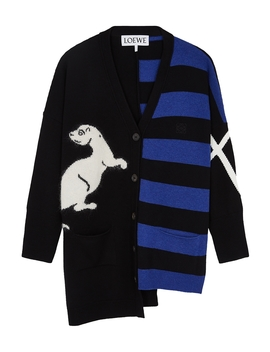 Panelled Intarsia Wool Blend Cardigan by Loewe