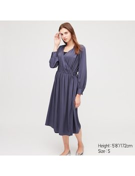 Women Rayon Long Sleeved Wrap Dress by Uniqlo