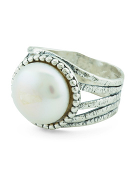 Made In Israel Sterling Silver Pearl Beaded Bezel Ring by Tj Maxx