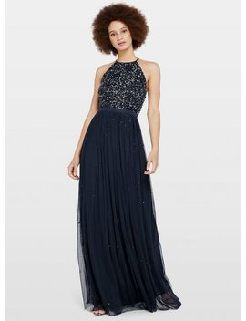 Navy High Neck Embellished Maxi Dress by Miss Selfridge