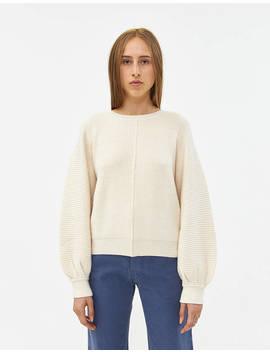Jenn Puff Sleeve Sweater In Vanilla by Farrow Farrow
