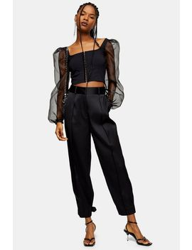 Black Satin Button Hem Peg Trousers by Topshop