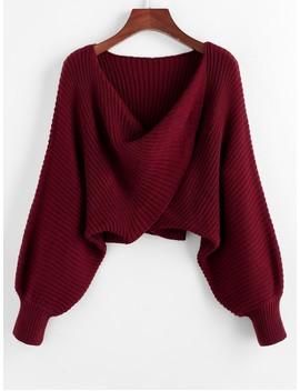 Hot Twist Asymmetric Crop Sweater   Red Wine S by Zaful