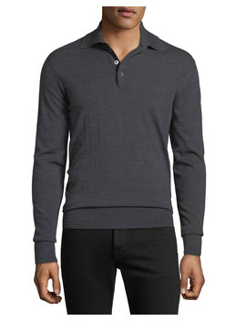 Men's Long Sleeve Merino Wool Polo Shirt by Tom Ford