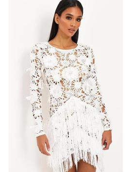 White 3d Floral Lace Fringe Dress by I Saw It First