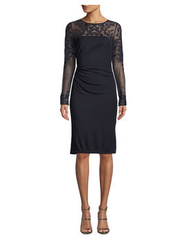 Tattoo Sheer Long Sleeve Ruched Dress by David Meister