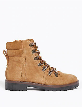 Suede Lace Up Hiker Ankle Boots by Tracked Home Delivery: