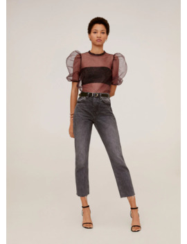 Organza T Shirt Puffed Sleeves by Mango