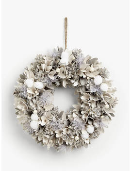 John Lewis & Partners Snowscape Snowball & Pearl Wreath, White by John Lewis & Partners