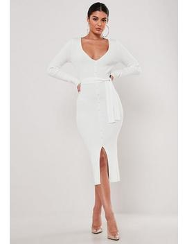 White Knitted Long Sleeve Belted Midaxi Dress by Missguided