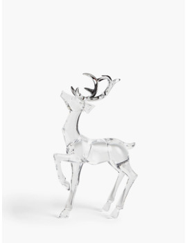 John Lewis & Partners Snowscape Acrylic Stag Decoration, Clear by John Lewis & Partners