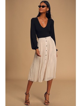 Look Me Up Cream Swiss Dot Button Front Pleated Midi Skirt by Lulus