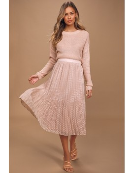 You're On My Mind Blush Pleated Swiss Dot Midi Skirt by Lulus