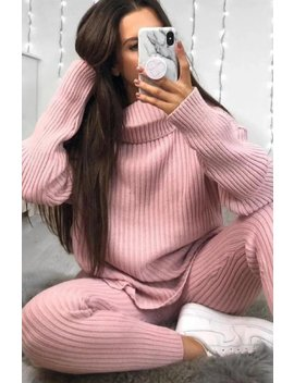 Pink Oversized Roll Neck Co Ord by Lasula