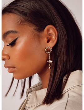 Minc Collections Ivy Cross Earrings Gold by Minc Collections