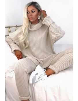 Stone Oversized Roll Neck Co Ord by Lasula