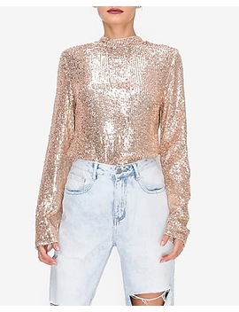 Endless Rose Rose Gold Sequin Long Sleeve Top by Express