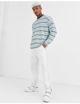 Asos Design   T Shirt Oversize à Manches Longues à Rayures   Bleu by Asos Design