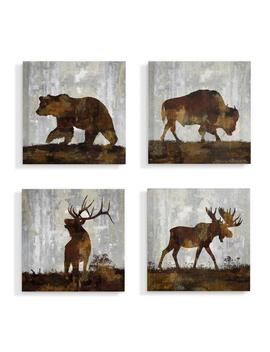 "17 In. X 17 In. ""Woodland Animals Bear Buffalo Deer And Moose"" By Artist Carl Colburn Canvas Wall Art(4 Pieces) by The Stupell Home Decor Collection"