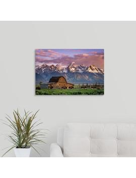 """A Herd Of Buffalo Walk In Front Of Mormon Barn, Jackson, Wyoming"" By Joseph Roybal Canvas Wall Art by Great Big Canvas"