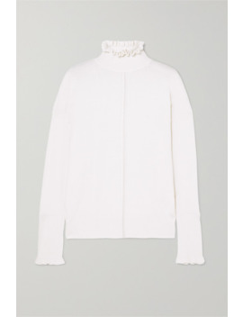Button Detailed Ruffled Cashmere Turtleneck Sweater by Chloé