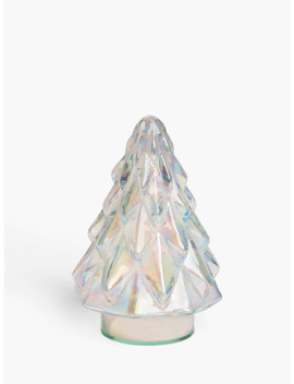 John Lewis & Partners Snowscape Glass Tree Decoration, Iridescent White by John Lewis & Partners