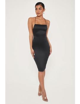 Bebe Thin Strap Lace Up Midi Dress   Black by Meshki