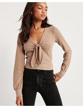 Cozy V Neck Tie Front Top by Abercrombie & Fitch