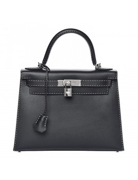 Hermes Grained Monsieur Un Point Sur Deux Kelly Sellier 28 Black by Hermes