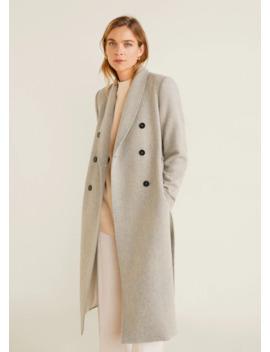 Полушерстяное пальто с поясом by Mango