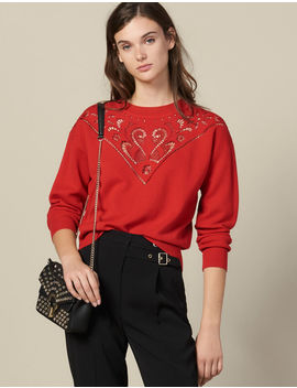 High Neck Sweater With Front Panel by Sandro Paris