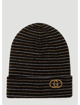 Metallic Stripe Beanie Hat In Black by Gucci