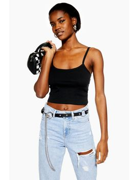 Black Scallop Camisole Top by Topshop