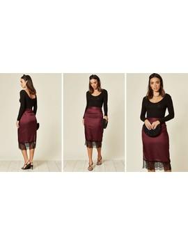 Maggie Lace Hem Silky Midi Skirt In Purple by Blue Vanilla
