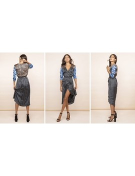 Yondal Dress In Black Dotty & Blue Floral Mix by Dancing Leopard